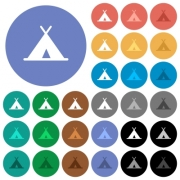 Tent multi colored flat icons on round backgrounds. Included white, light and dark icon variations for hover and active status effects, and bonus shades on black backgounds. - Tent round flat multi colored icons