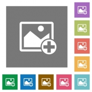 Add new image flat icons on simple color square backgrounds - Add new image square flat icons