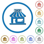 Store front flat color vector icons with shadows in round outlines on white background - Store front icons with shadows and outlines