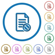 Disabled document flat color vector icons with shadows in round outlines on white background - Disabled document icons with shadows and outlines