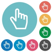 Hand cursor flat white icons on round color backgrounds - Hand cursor flat round icons