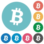 Bitcoin digital cryptocurrency flat white icons on round color backgrounds - Bitcoin digital cryptocurrency flat round icons