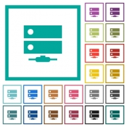 Network drive flat color icons with quadrant frames on white background - Network drive flat color icons with quadrant frames