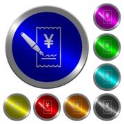 Signing Yen cheque icons on round luminous coin-like color steel buttons - Signing Yen cheque luminous coin-like round color buttons