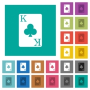 King of clubs card multi colored flat icons on plain square backgrounds. Included white and darker icon variations for hover or active effects. - King of clubs card square flat multi colored icons