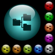 Shared folders icons in color illuminated spherical glass buttons on black background. Can be used to black or dark templates - Shared folders icons in color illuminated glass buttons