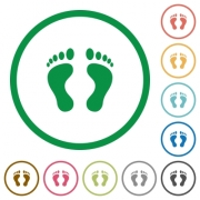 Human Footprints flat color icons in round outlines on white background - Human Footprints flat icons with outlines