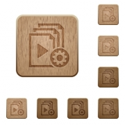 Playlist settings on rounded square carved wooden button styles - Playlist settings wooden buttons