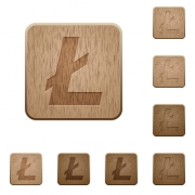 Litecoin digital cryptocurrency on rounded square carved wooden button styles - Litecoin digital cryptocurrency wooden buttons