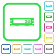 RAM memory module vivid colored flat icons in curved borders on white background - RAM memory module vivid colored flat icons