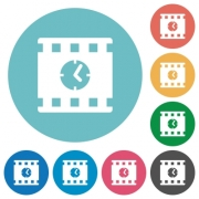 Movie playing time flat white icons on round color backgrounds - Movie playing time flat round icons