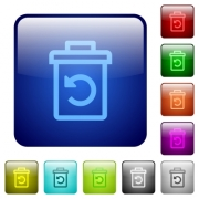Undelete icons in rounded square color glossy button set - Undelete color square buttons