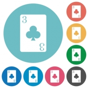 Three of clubs card flat white icons on round color backgrounds - Three of clubs card flat round icons