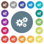Gears flat white icons on round color backgrounds. 17 background color variations are included. - Gears flat white icons on round color backgrounds