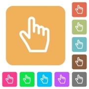 Hand cursor flat icons on rounded square vivid color backgrounds. - Hand cursor rounded square flat icons