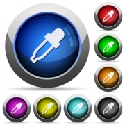 Color picker icons in round glossy buttons with steel frames - Color picker round glossy buttons