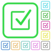 Checked box vivid colored flat icons in curved borders on white background - Checked box vivid colored flat icons