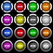 Resize horizontal white icons in round glossy buttons with steel frames on black background. The buttons are in two different styles and eight colors.