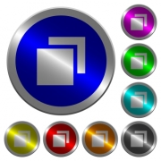 Overlapping elements icons on round luminous coin-like color steel buttons - Overlapping elements luminous coin-like round color buttons