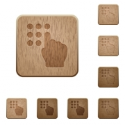 Typing security code on rounded square carved wooden button styles - Typing security code wooden buttons