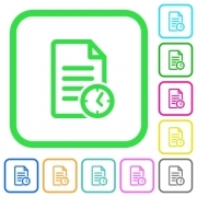 Document last modified time vivid colored flat icons in curved borders on white background - Document last modified time vivid colored flat icons