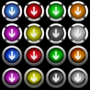 Down arrow white icons in round glossy buttons with steel frames on black background. The buttons are in two different styles and eight colors. - Down arrow white icons in round glossy buttons on black background