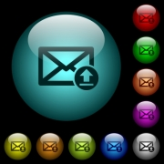 Sending email icons in color illuminated spherical glass buttons on black background. Can be used to black or dark templates - Sending email icons in color illuminated glass buttons