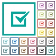 Checked box flat color icons with quadrant frames on white background