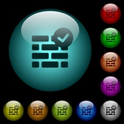 Active firewall icons in color illuminated spherical glass buttons on black background. Can be used to black or dark templates