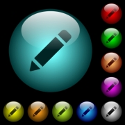 Single pencil with rubber icons in color illuminated spherical glass buttons on black background. Can be used to black or dark templates - Single pencil with rubber icons in color illuminated glass buttons