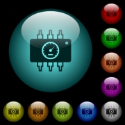 Hardware diagnostics icons in color illuminated spherical glass buttons on black background. Can be used to black or dark templates - Hardware diagnostics icons in color illuminated glass buttons