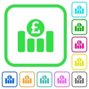 Pound financial graph vivid colored flat icons in curved borders on white background - Pound financial graph vivid colored flat icons icons