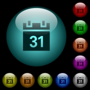 Calendar icons in color illuminated spherical glass buttons on black background. Can be used to black or dark templates - Calendar icons in color illuminated glass buttons