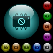 Hardware disabled icons in color illuminated spherical glass buttons on black background. Can be used to black or dark templates - Hardware disabled icons in color illuminated glass buttons