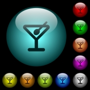 Cocktail icons in color illuminated spherical glass buttons on black background. Can be used to black or dark templates - Cocktail icons in color illuminated glass buttons