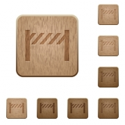 Road closure fence on rounded square carved wooden button styles - Road closure fence wooden buttons