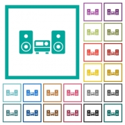 Stereo system flat color icons with quadrant frames on white background - Stereo system flat color icons with quadrant frames