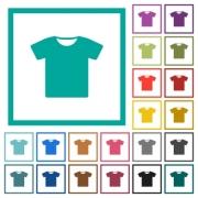 T-shirt flat color icons with quadrant frames on white background - T-shirt flat color icons with quadrant frames