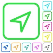 Direction arrow vivid colored flat icons in curved borders on white background - Direction arrow vivid colored flat icons