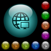 Remote terminal icons in color illuminated spherical glass buttons on black background. Can be used to black or dark templates - Remote terminal icons in color illuminated glass buttons