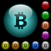 Bitcoin sign icons in color illuminated spherical glass buttons on black background. Can be used to black or dark templates - Bitcoin sign icons in color illuminated glass buttons