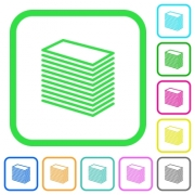 Paper stack vivid colored flat icons in curved borders on white background - Paper stack vivid colored flat icons