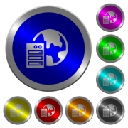 Web hosting icons on round luminous coin-like color steel buttons - Web hosting luminous coin-like round color buttons