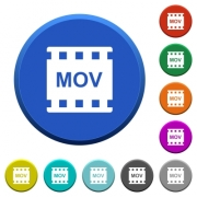 MOV movie format round color beveled buttons with smooth surfaces and flat white icons - MOV movie format beveled buttons