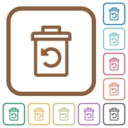 Undelete simple icons in color rounded square frames on white background - Undelete simple icons