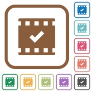 Movie ok simple icons in color rounded square frames on white background - Movie ok simple icons