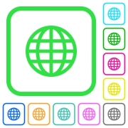 Globe vivid colored flat icons in curved borders on white background - Globe vivid colored flat icons