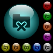 Cancel folder icons in color illuminated spherical glass buttons on black background. Can be used to black or dark templates - Cancel folder icons in color illuminated glass buttons
