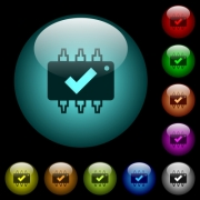 Hardware checked icons in color illuminated spherical glass buttons on black background. Can be used to black or dark templates - Hardware checked icons in color illuminated glass buttons