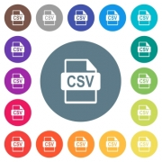 CSV file format flat white icons on round color backgrounds. 17 background color variations are included. - CSV file format flat white icons on round color backgrounds